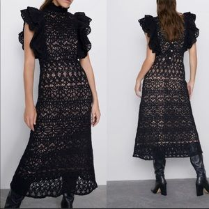 NWT Zara Black Crochet Ruffle Midi Dress